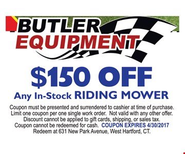 $150 off any in-stock riding mower