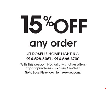 15% Off any order. With this coupon. Not valid with other offers or prior purchases. Expires 12-29-17. Go to LocalFlavor.com for more coupons.