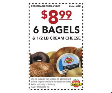 $8.99 6 bagels