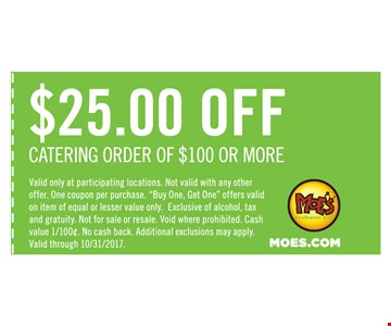 $25 off catering order
