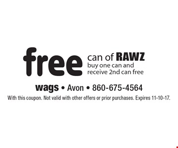Free can of RAWZ. Buy one can and receive 2nd can free. With this coupon. Not valid with other offers or prior purchases. Expires 11-10-17.