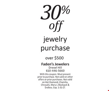 30% off jewelry purchase over $500. With this coupon. Must present prior to purchase. Not valid on other offers or prior purchases. Not valid on Hot Diamond, Chamilia, Chrysalis, Mary J, Blackjack &Endless. Exp. 1-31-17.