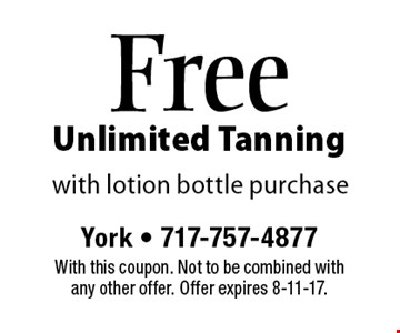 Free Unlimited Tanning with lotion bottle purchase. With this coupon. Not to be combined with any other offer. Offer expires 8-11-17.