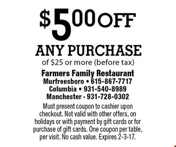 $5.00 off Any Purchase of $25 or more (before tax). Must present coupon to cashier upon checkout. Not valid with other offers, on holidays or with payment by gift cards or for purchase of gift cards. One coupon per table, per visit. No cash value. Expires 2-3-17.