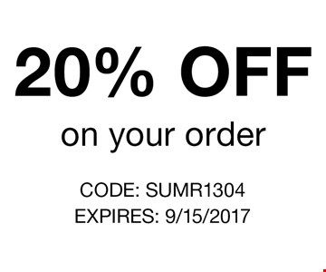 20% OFF on your order. CODE: SUMR1304. EXPIRES: 9/15/2017