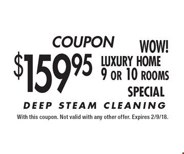 COUPON $159.95 luxury home 9 or 10 rooms SPECIAL. With this coupon. Not valid with any other offer. Expires 2/9/18.