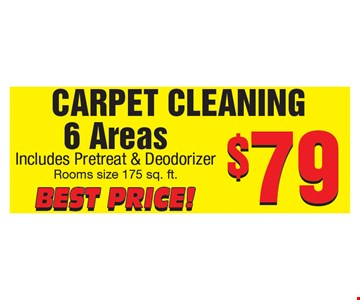 $79 for Carpet Cleaning of 6 Areas.
