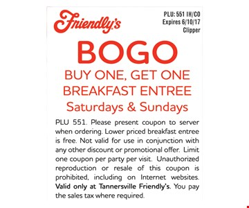 Free breakfast entree with purchase.