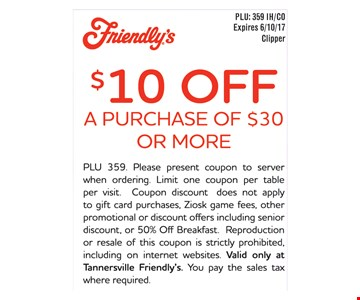 $10 off a $30 purchase.