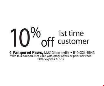 10%off 1st time customer. With this coupon. Not valid with other offers or prior services. Offer expires 1-6-17.
