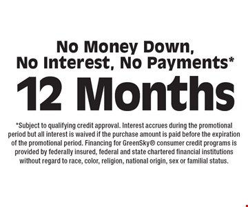 12 Months No Money Down, No Interest, No Payments*. *Subject to qualifying credit approval. Interest accrues during the promotional period but all interest is waived if the purchase amount is paid before the expiration of the promotional period. Financing for GreenSky consumer credit programs is provided by federally insured, federal and state chartered financial institutions without regard to race, color, religion, national origin, sex or familial status.