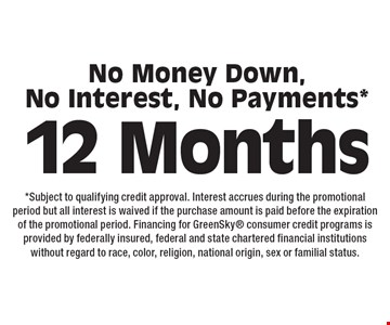 12 Months No Money Down,No Interest, No Payments*. *Subject to qualifying credit approval. Interest accrues during the promotional period but all interest is waived if the purchase amount is paid before the expiration of the promotional period. Financing for GreenSky consumer credit programs is provided by federally insured, federal and state chartered financial institutions without regard to race, color, religion, national origin, sex or familial status.