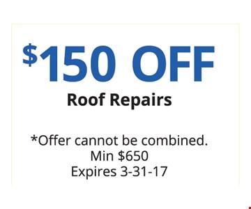 $150 off Roof Repairs