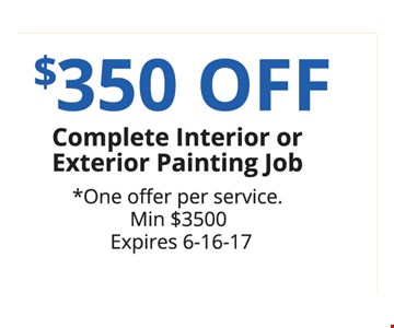 $350 Off Complete Interior or Exterior Painting Job