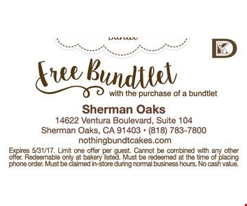 Free Bundtlet with the purchase of a bundtlet.