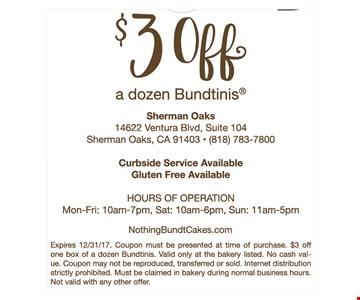 $3 Off a dozen Bundtinis