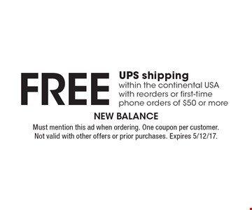 Free UPS shipping within the continental USA with reorders or first-time phone orders of $50 or more. Must mention this ad when ordering. One coupon per customer.Not valid with other offers or prior purchases. Expires 5/12/17.