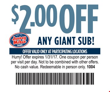 $2 off any giant sub