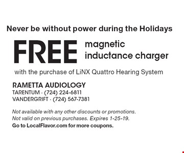 Free Charging System with the purchase of any Oticon OPN1 Hearing Devices