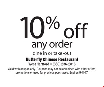 10% off any order dine in or take-out. Valid with coupon only. Coupons may not be combined with other offers, promotions or used for previous purchases. Expires 9-8-17.