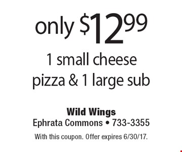 Only $12.99 1 small cheese pizza & 1 large sub. With this coupon. Offer expires 6/30/17.