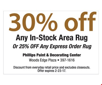 30% off any in-stock area rug