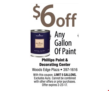 $6 off any gallon of paint