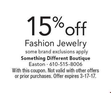 15% off Fashion Jewelry. Some brand exclusions apply. With this coupon. Not valid with other offers or prior purchases. Offer expires 3-17-17.