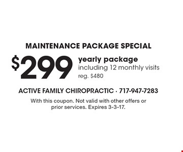 Maintenance Package Special – $299 yearly package, including 12 monthly visits. Reg. $480. With this coupon. Not valid with other offers or prior services. Expires 3-3-17.