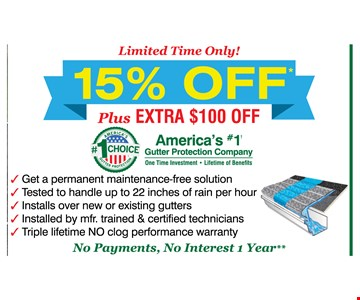 15% off plus EXTRA $100 off