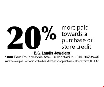 20% more paid towards a purchase or store credit. With this coupon. Not valid with other offers or prior purchases. Offer expires 12-8-17.