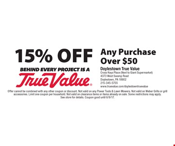 15% Off Any Purchase Over $50. Offer cannot be combined with any other coupon or discount. Not valid on any Power Tools & Lawn Mowers. Not valid on Weber Grills or grill accessories. Limit one coupon per household. Not valid on clearance items or items already on sale. Some restrictions may apply. See store for details. Coupon good until 6/9/17.
