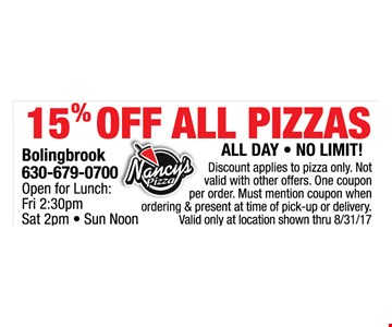 15% off all pizzas