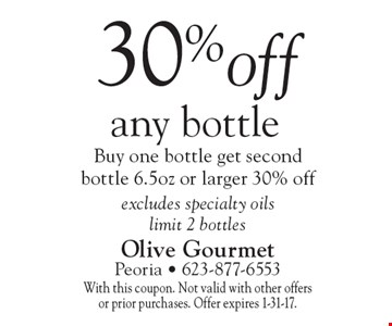 30% off any bottle. Buy one bottle get second bottle 6.5oz or larger 30% off excludes specialty oils. Limit 2 bottles. With this coupon. Not valid with other offers or prior purchases. Offer expires 1-31-17.