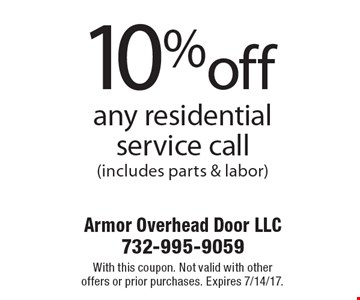 10% off any residential service call (includes parts & labor). With this coupon. Not valid with other offers or prior purchases. Expires 7/14/17.