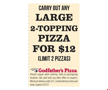 Large Pizza 2-Topping Pizza For $12