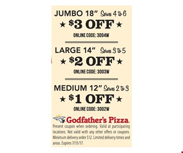$1, $2 Or $3 Off