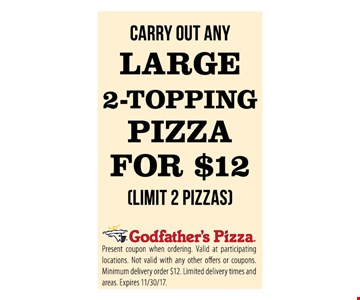 Large 2-Topping Pizza For $12