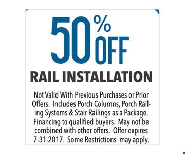 50% off rail installation