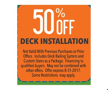 50% Off Deck installation