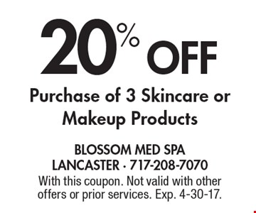 20% Off Purchase of 3 Skincare or Makeup Products. With this coupon. Not valid with other offers or prior services. Exp. 4-30-17.