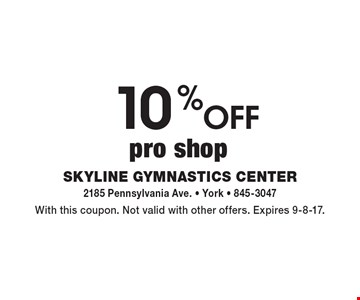10% off pro shop. With this coupon. Not valid with other offers. Expires 9-8-17.