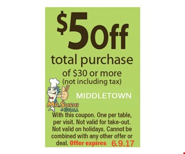 $5 off total purchase of $30 or more