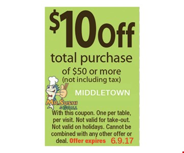 $10 off total purchase of $50 or more