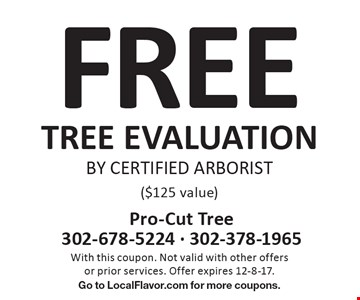 FREE TREE EVALUATION BY CERTIFIED ARBORIST ($125 value). With this coupon. Not valid with other offers or prior services. Offer expires 12-8-17. Go to LocalFlavor.com for more coupons.