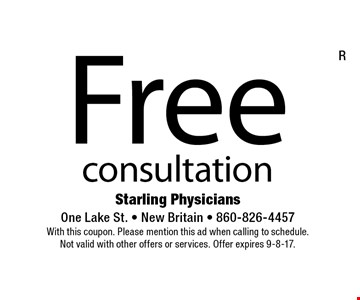 Free consultation. With this coupon. Please mention this ad when calling to schedule. Not valid with other offers or services. Offer expires 9-8-17.