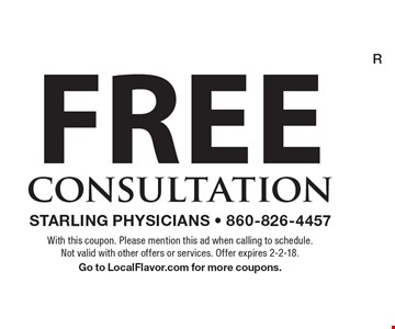 Free consultation. With this coupon. Please mention this ad when calling to schedule. Not valid with other offers or services. Offer expires 2-2-18. Go to LocalFlavor.com for more coupons.
