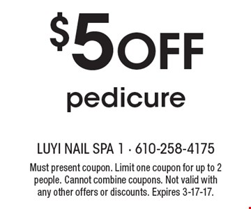 $5 off pedicure. Must present coupon. Limit one coupon for up to 2 people. Cannot combine coupons. Not valid with any other offers or discounts. Expires 3-17-17.