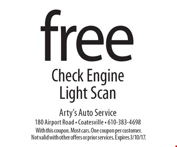 Free Check Engine Light Scan. With this coupon. Most cars. One coupon per customer. Not valid with other offers or prior services. Expires 3/10/17.