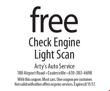 Free Check Engine Light Scan. With this coupon. Most cars. One coupon per customer. Not valid with other offers or prior services. Expires 8/11/17.
